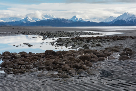 Tidals pools lay exposed at low tide with snow capped mountains in the background.