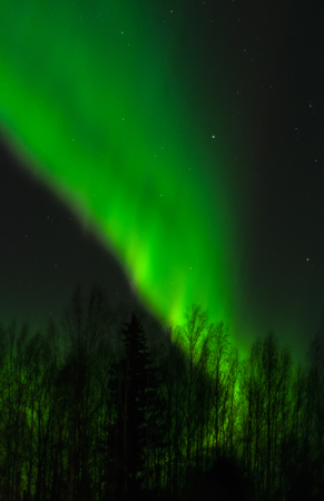 ionosphere: An aurora roars up to from a tall wall of green in the night sky.