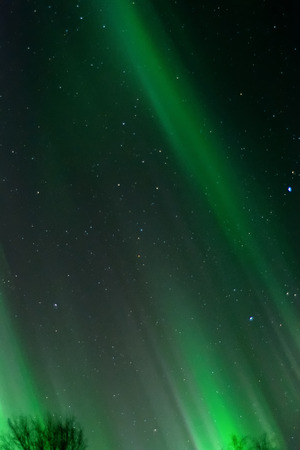 wisps: An aurora paints bands of green across the sky.