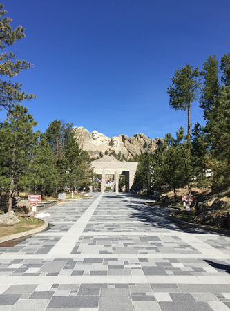 mount rushmore: A granite pathway leads up to the rock faces of the Presidents at Mount Rushmore.