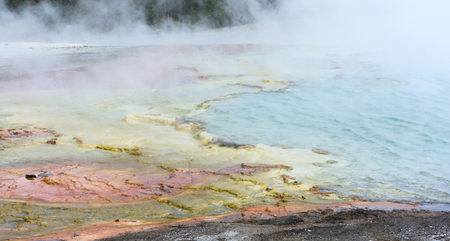 Waves and steam from a hotspring overflow onto yellow and pink rocks. 版權商用圖片