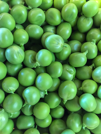 Fresh greens peas are spreadout ready to cook or eat. Stock Photo