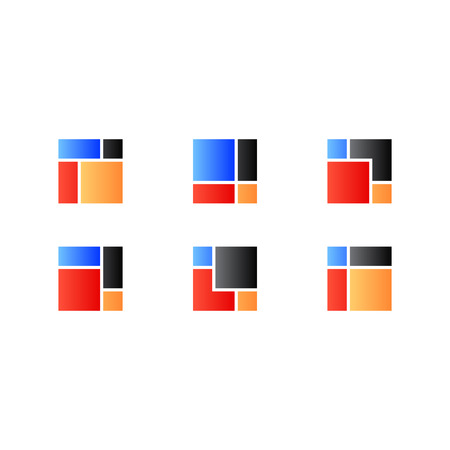 red and blue: abstract square. Color red blue black orange. Illustration