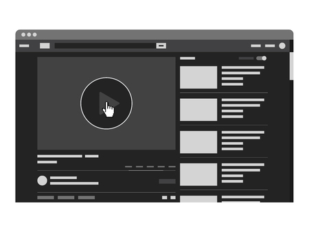 Website video player template flat design with browser. Vector Illustration
