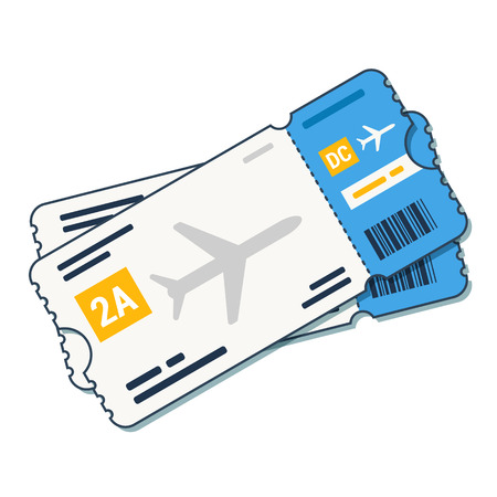 Airline tickets ,boarding pass icon Airline boarding pass ticket for traveling by plane. Vector