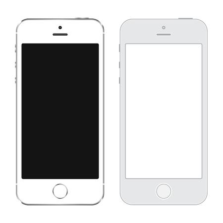 Couleur blanche réaliste et LineArt Smartphone avec écran tactile blanc isolé sur fond blanc. Illustration vectorielle eps10.