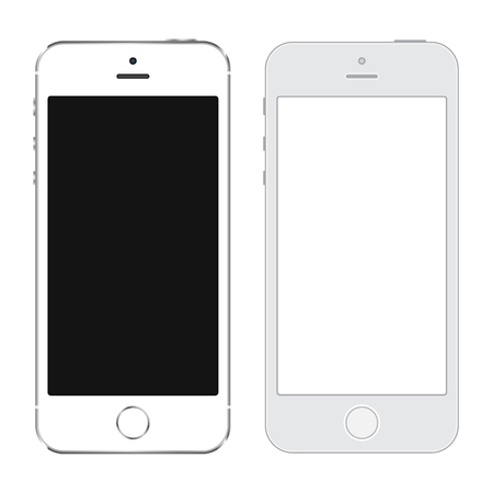 Realistic and LineArt Smartphone white color with blank touch screen isolated on white background. Vector illustration eps10.