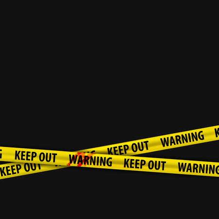Police yellow stripes keep out with a stain of blood and warning signs. Police tape, police ribbon variation. Caution text. Vector illustration. Illustration