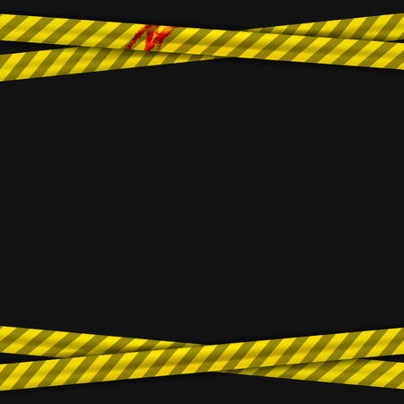 Police yellow stripes keep out with a stain of blood and warning signs. Police tape, police ribbon variation. Vector illustration.
