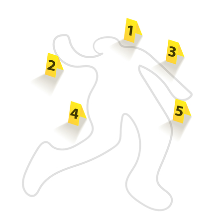 Chalk silhouette of a corpse with yellow tablets indicating clues. Chalk outline of dead body with yellow tablets. Vector illustration.