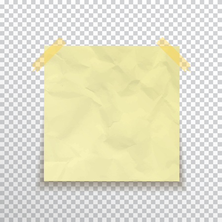 Template yellow sticky note ?rumpled isolated on transparent background. Vector, eps10.