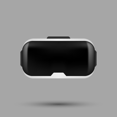 White realistic VR virtual reality glasses. VR gaming headset illustration for apps, ads and websites. Vector illustration