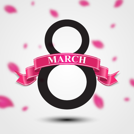 International Womens day background. Ribbon 8 March greeting card template. Vector illustration, eps10.