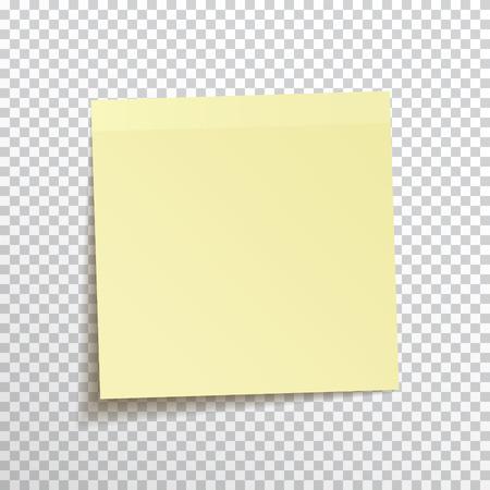 Szablon żółta kleista notatka odizolowywająca na przejrzystym tle. Wektor, eps10.