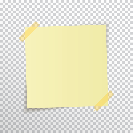 paper pin: Template yellow sticky note with sticky tape isolated on transparent background. Vector, eps10. Illustration