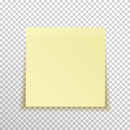 paper pin: Template yellow sticky note isolated on transparent background. Vector, eps10.
