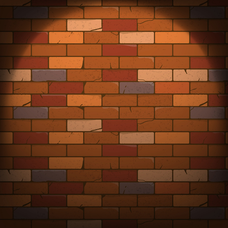 Brick wall with a ray of spotlight texture cartoon style. Vector illustration, eps10.