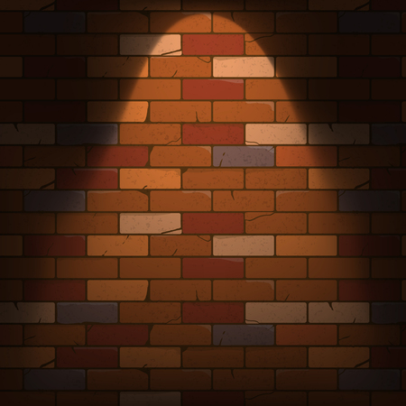 Brick wall texture with beam lamp in a cartoon style. Vector illustration, eps10.