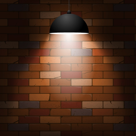 wreck: Brick wall texture with beam lamp in a cartoon style. Vector illustration, eps10.