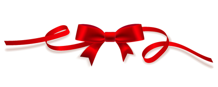 colorfull: Decorative red bow with horizontal ribbons isolated on white. Vector, eps10. Illustration