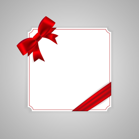 Vintage ?ard template with red bow and ribbon. Vector