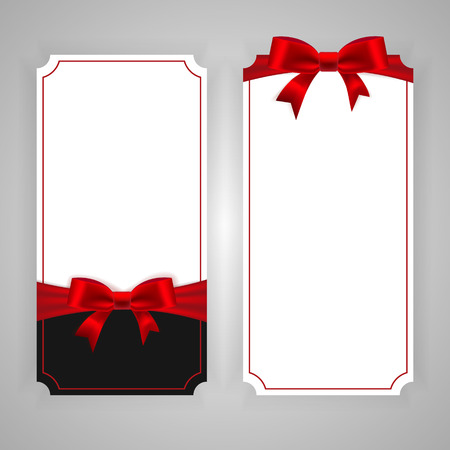 Vertical template banner with red ribbon and a bow. Vector Illustration