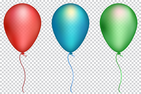 Set red, green and blue balloons on a transparent background. Isolated vector air ball.