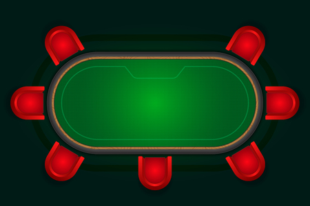 Poker table with red chairs.