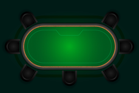 Poker table with black chairs.