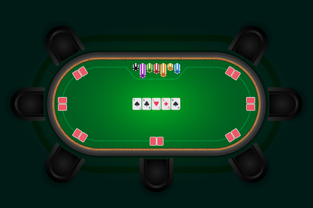Poker table with black chairs and cards with chips. Çizim
