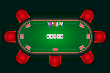 Poker table with red chairs and cards with chips. Stock Illustratie