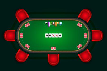 Tavolo da poker con sedie rosse e carte con fiches. Archivio Fotografico - 92236767