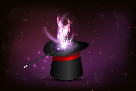 Magic hat and wand with sparkles, magical glow.