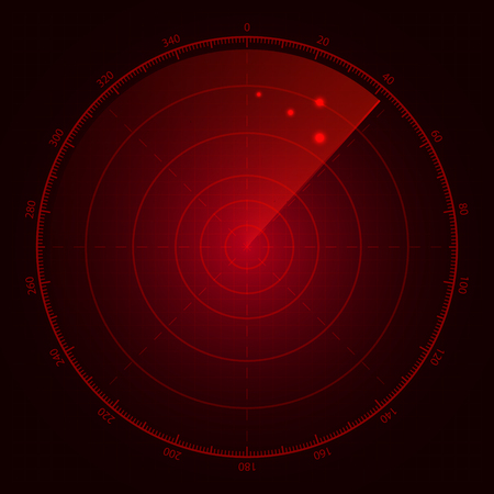 Digital red radar with targets on monitor. Illustration