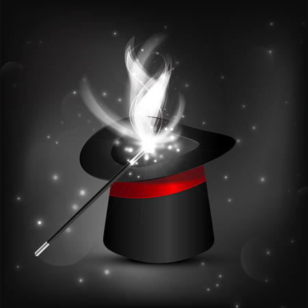 Black-and-white and red Magic hat and wand with sparkles, magical glow.