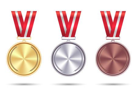 赤いリボンで金、銀、ブロンズのリアルなメダルを設定します。 写真素材 - 92188180