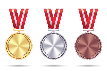 Set realistic medals of gold, silver and bronze with red ribbon. Banco de Imagens - 92188180