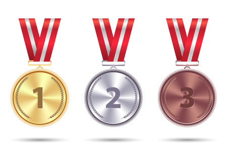 Set realistic medals of gold, silver and bronze with red ribbon.