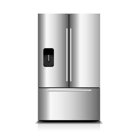 Shiny refrigerator on white background illustration.