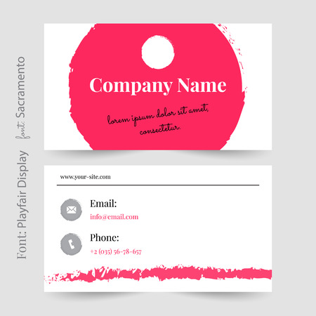 Business card or visiting card template vector, pink visiting card