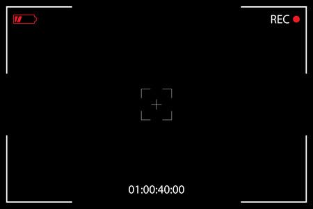 Camera Viewfinder on a Black Background