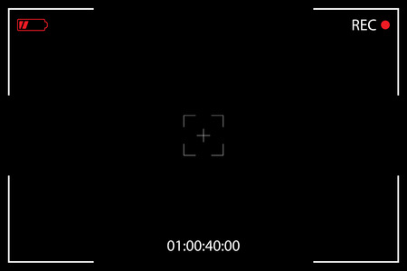 Camera Viewfinder on a Black Background