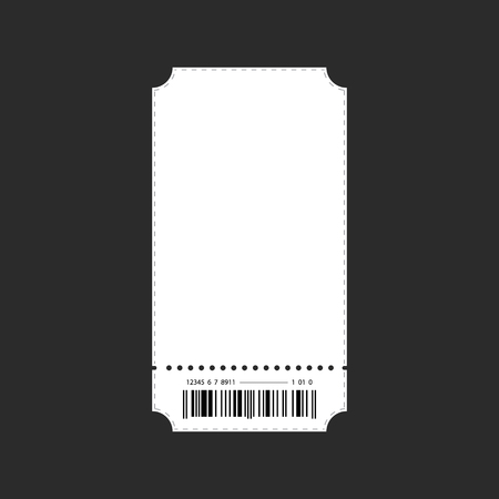 Ticket template vector on plain background