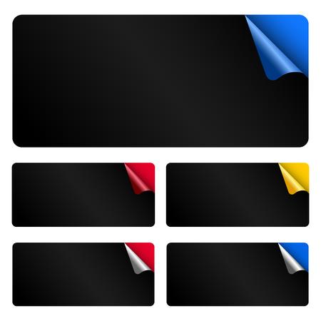 Set dark rectangular stickers Illustration
