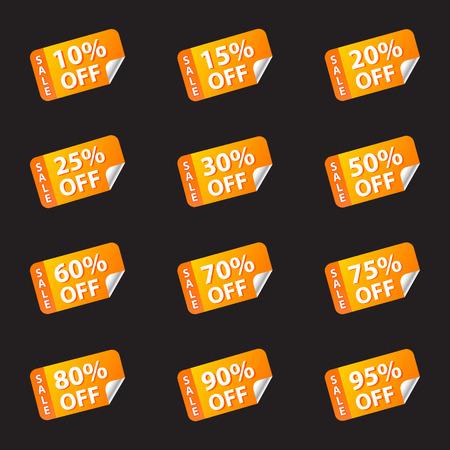 Set sale, discount sticker yellow