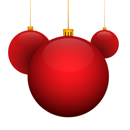 Christmas toy red ball. Red pearl. Holiday christmas toy for fir tree. Vector illustration.