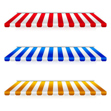 Set of Striped Awnings.Vector Illustration.