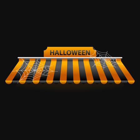 Set of Striped Awnings Halloween.Vector Illustration. Illustration