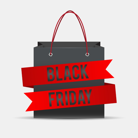 Black Friday shopping bag, pack ribbon Vector illustration. Illustration