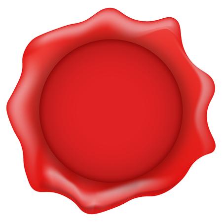 Sello de cera roja sobre un fondo blanco Ilustración del vector.